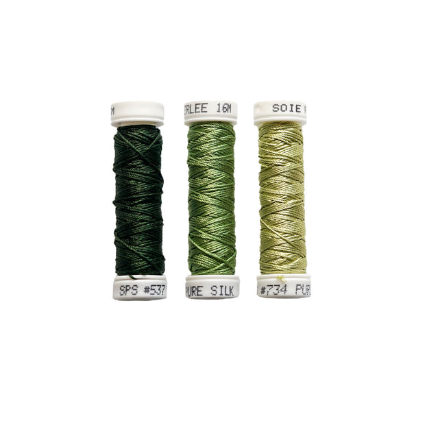 Au Ver à Soie ® Soie Perlee Silk Thread Kit - Seaweed Green