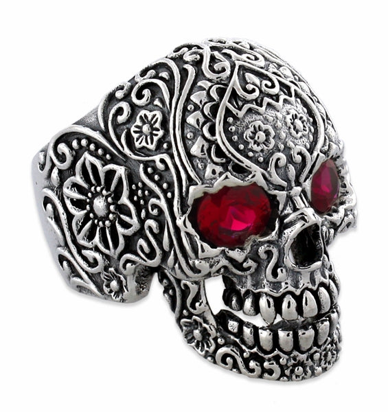 425f629e780e0 Sterling Silver Garden Skull Ring CZ Eyes