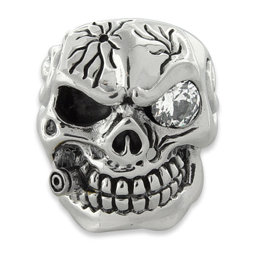 df6ccf4d4a2c7 Sterling Silver Skull Ring - CZ Eye