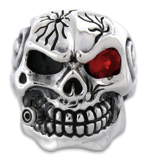 0449be48dcff6 Sterling Silver Skull Ring w/ Cubic Zirconia