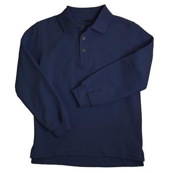 Long Sleeve Pique Polo Boys Navy