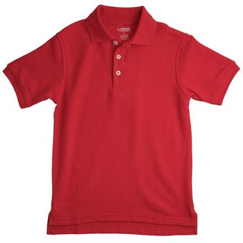 Short Sleeve Pique Polo, Red