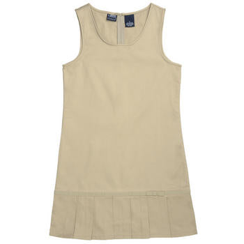 Pleated Hem Jumper, Girls Khaki