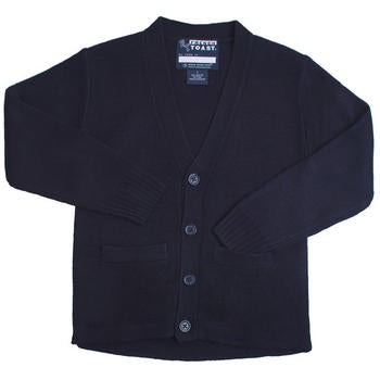 Cardigan Sweater, Youth Navy Anti-Pill V-Neck