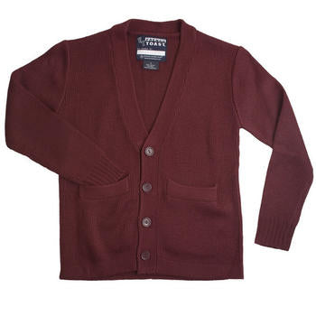 Cardigan Sweater, Youth Burgundy Anti-Pill V-Neck