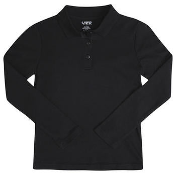 Long Sleeve Pique Polo, Boys Black