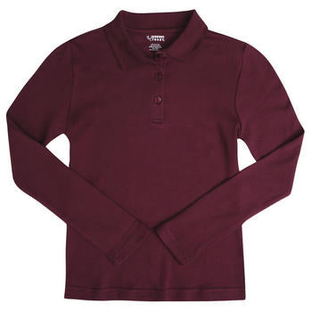 Polo, Girls Burgundy L/S Interlock Knit Size 4-20