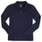 Polo, Girls Navy Long Sleeve Interlock Knit with Picot Collar (Feminine Fit)