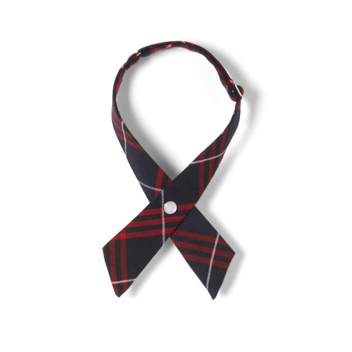Tie, Plaid #36 -  Navy/Red Adjustable Cross Tie