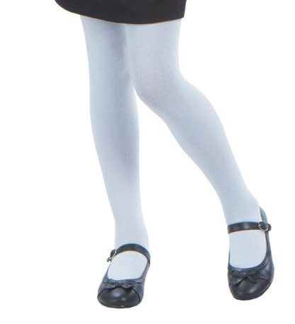 Socks, Girls Tights Fleece Lined White / Navy
