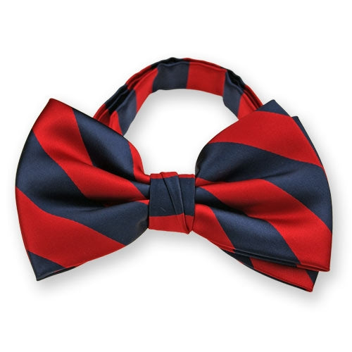 Bow Tie, Micro Fiber College Banded Red/Navy
