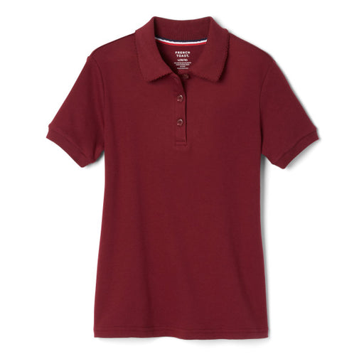 Polo, Girls Burgundy Short Sleeve Interlock with Picot Collar (Feminine Fit)