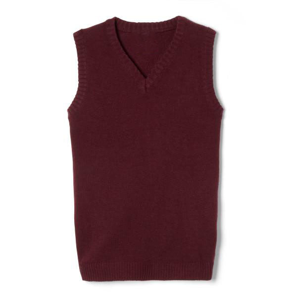 Sweater Vest V-Neck, Burgundy, Sizes 4-20