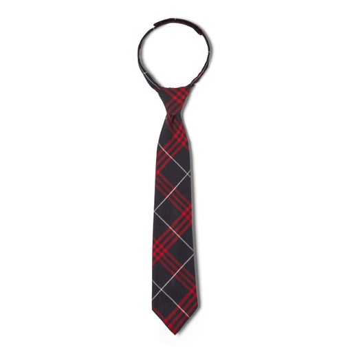 Tie, Velcro Adjustable - Unisex Navy/Red Plaid #36 sizes 8-20