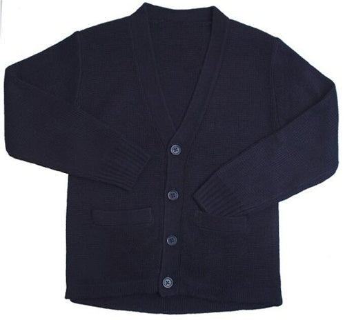 Cardigan Sweater, Youth Black Anti-Pill V-Neck