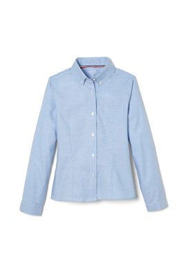 Long Sleeve Oxford Blouse with Princess Seams, Blue