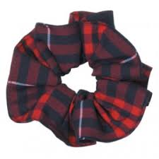 "Scrunchie ""Navy/Red"" ""Classic Navy Large"" Plaid #36"