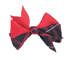 "Hairbow ""Navy/Red"" ""Classic Navy Large"" ""Plaid #36"""