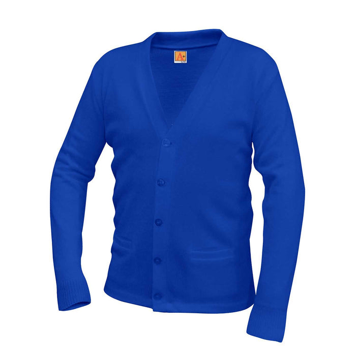 Cardigan Sweater Royal Blue Anti-Pill V-Neck