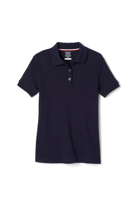 Polo, Girls Navy Short Sleeve Interlock with Picot Collar (Feminine Fit)