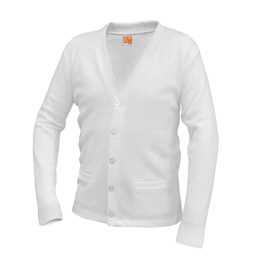 Cardigan Sweater White Anti-Pill V-Neck