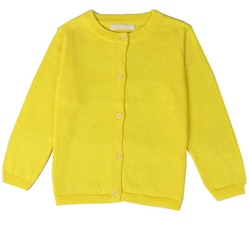Cardigan Sweater Girls Yellow Anti-Pill Crew Neck