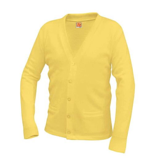Cardigan Sweater Yellow Anti-Pill V-Neck