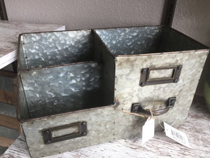Desk top galvanized organizer