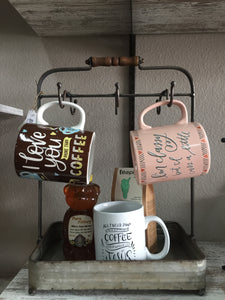 Tabletop mug rack with tray DAMAGED AS-IS!! 25% OFF