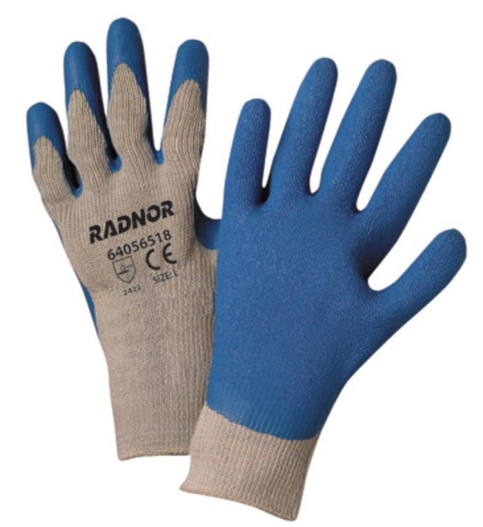 Ceco RB2101B-L (2) Work Gloves Polyester/Cotton 10 Gauge Blue Latex Palm Coated L