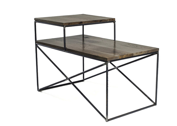 Rebar Jones Double Shelf End Table