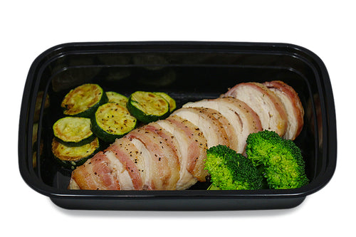 Bacon Wrapped Chicken Breast With Veggies