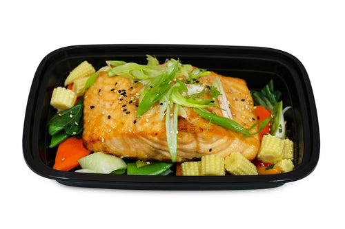 Sesame Soy Marinated Salmon with Vegetable Medley