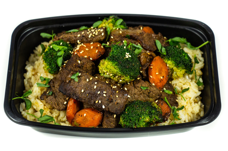 Mongolian Beef On Brown Calrose Rice