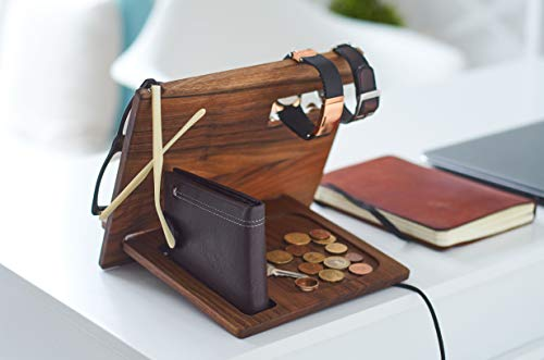 Wood Phone Docking Station Walnut Hooks Key Holder