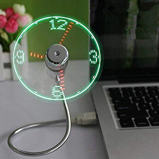 ONXE USB LED Clock Fan with Real Time Display Function
