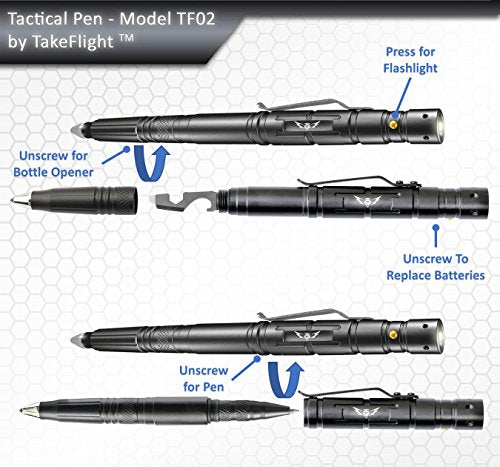 Tactical Pen for Self-Defense + LED Tactical Flashlight, Bottle Opener, Window Breaker | Multi-Tool for Everyday Carry (EDC) Survival Gear | For Military, Police, SWAT | Gift Boxed + Extra Ink - - Amazon.com