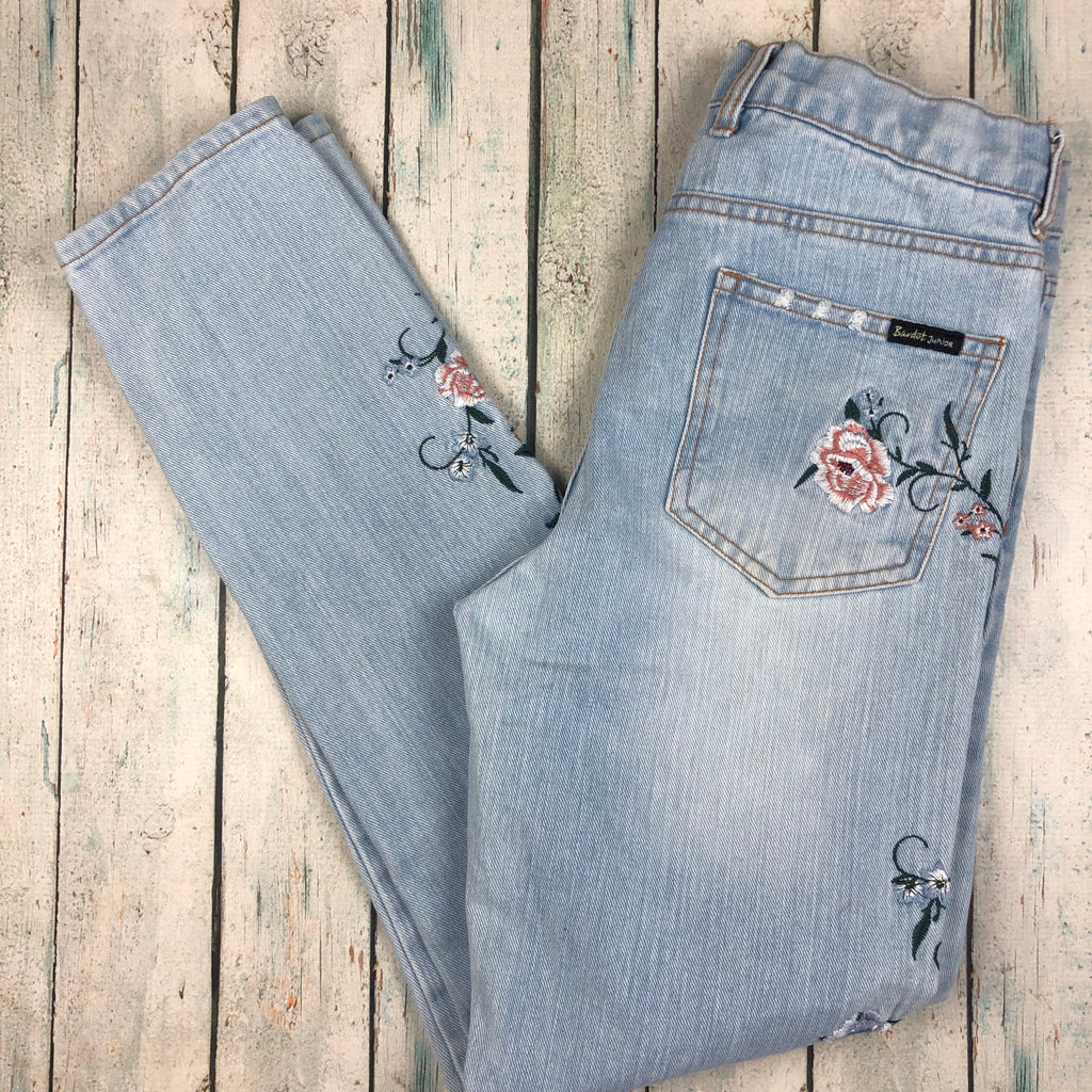 Bardot Junior Girls Embroidered Floral Jeans - Size 12