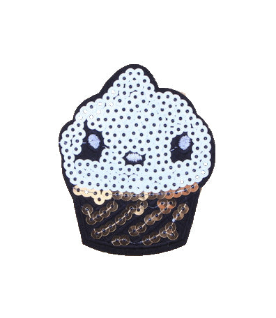 Cupcake- Embroidered Sequin Patch-Jean Pool