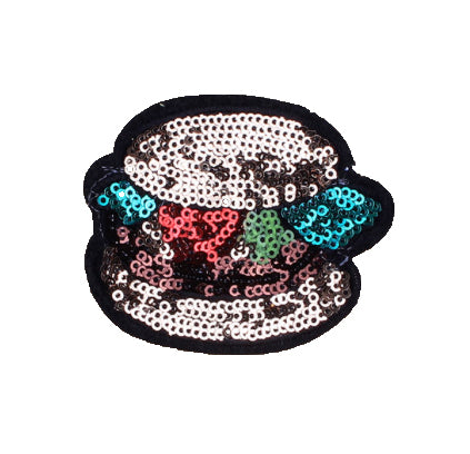 Hamburger- Embroidered Sequin Patch-Jean Pool