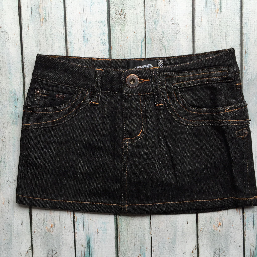 Used Black Denim Mini Skirt- Size 10-Jean Pool