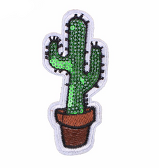 Cactus - Embroidered & Sequin Cloth Patch-Jean Pool
