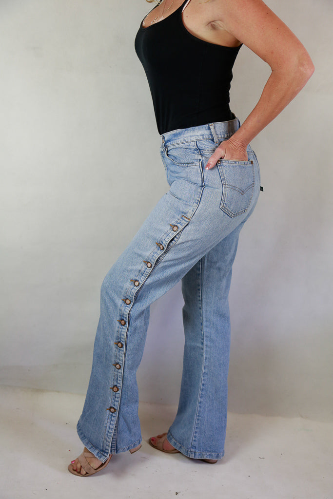 Australian Kerry McGee Vintage 1980's Button Leg Flared Jeans- Size 12