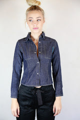 DKNY Denim Press Stud Front Shirt - Size 10