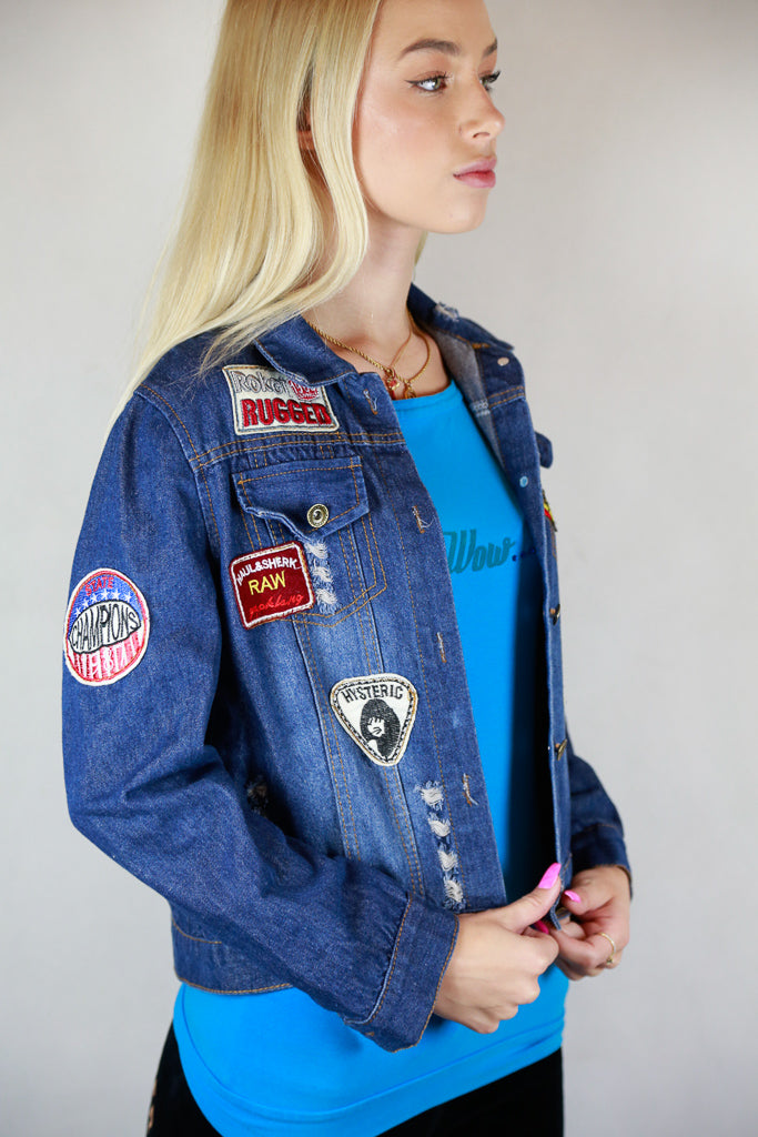 Denim Embroidered Patches Jacket - Size S