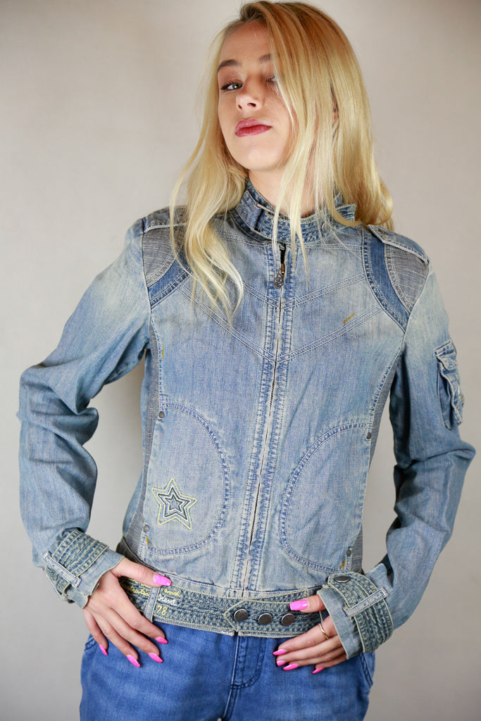 Italian Embroidered Denim Jean Jacket by Diesel - Size S