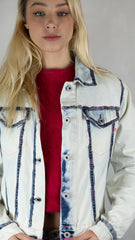 Replay Jeans Painted Bleached Denim Jean Jacket - Size S