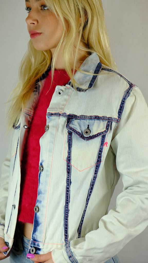 Replay Jeans Painted Bleached Denim Jean Jacket - Size S-Jean Pool