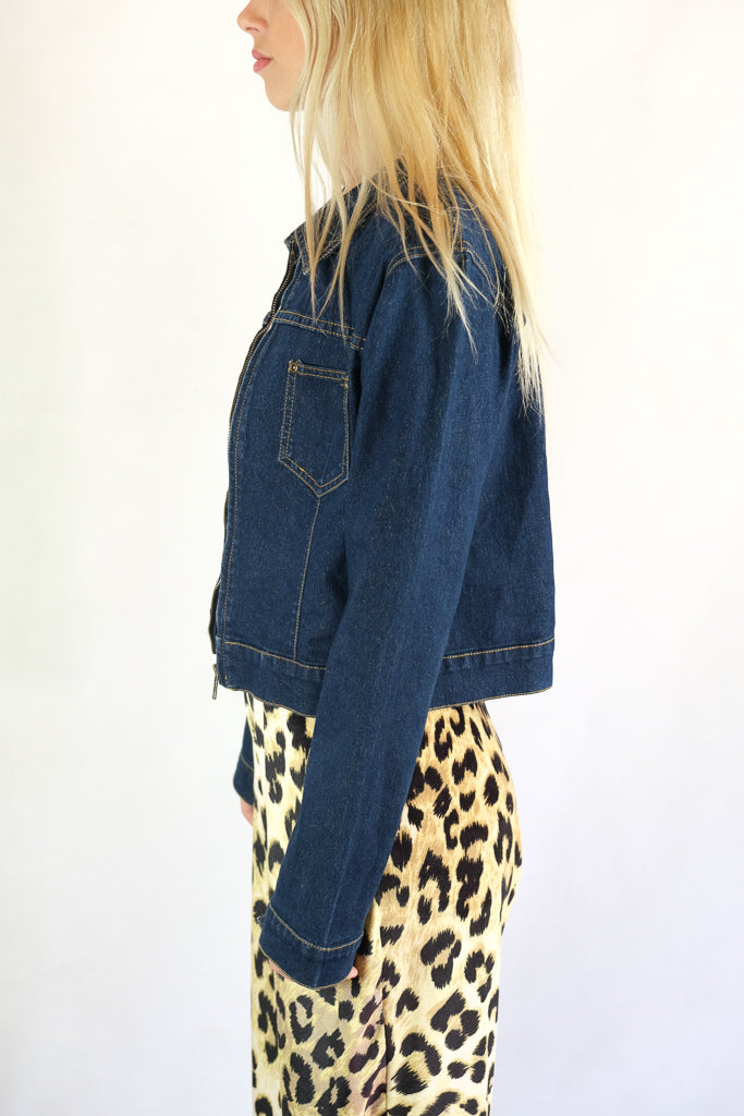 Vintage Westco Gold Metallic Fleck Denim Jean Jacket - Size 8