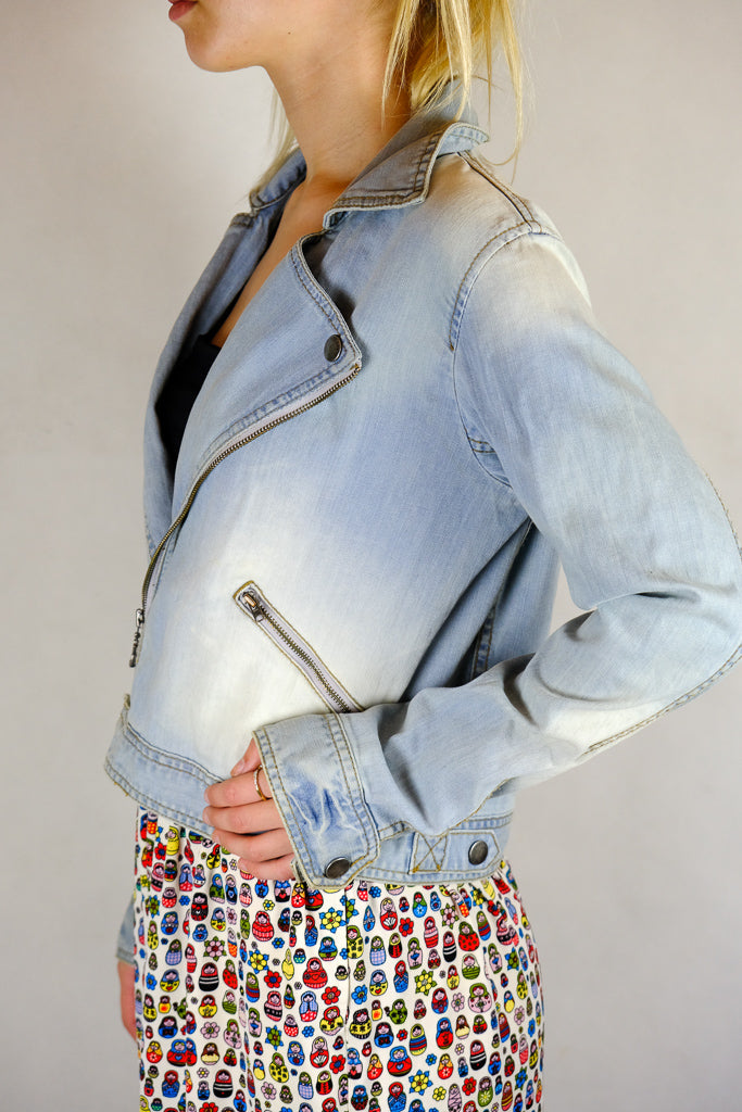 Ted Baker Biker Style Denim Jacket - Size 3 or M